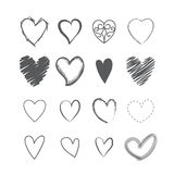 Set of heart shape hands drawn icons Royalty Free Stock Image