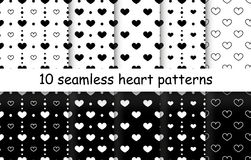 Set of Heart shape vector seamless patterns. 10 Heart shape vector seamless patterns. Black and white color. Endless texture can be used for printing onto stock illustration