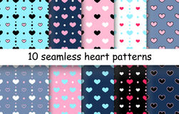 Set of Heart shape vector seamless patterns. 10 Heart shape vector seamless patterns. Endless texture can be used for printing onto fabric and paper or scrap vector illustration