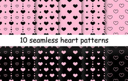 Set of Heart shape vector seamless patterns. 10 Heart shape vector seamless patterns. Pink and black color. Endless texture can be used for printing onto fabric vector illustration