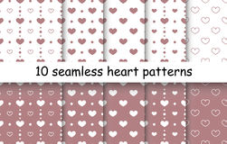 Set of Heart shape vector seamless patterns. 10 Heart shape vector seamless patterns. Pink and white color. Endless texture can be used for printing onto fabric royalty free illustration