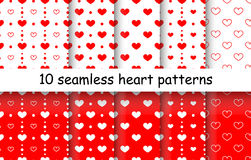 Set of Heart shape vector seamless patterns. 10 Heart shape vector seamless patterns. Red and white color. Endless texture can be used for printing onto fabric stock illustration
