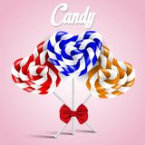 Set of heart shaped candy lollipops Stock Photos