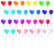 Set of heart shaped colorful balloons  on white background. Stock Photos