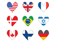 Set of heart-shaped flags Stock Photos