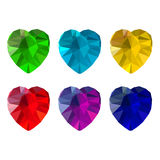Set of heart-shaped gemstones. Six colorful jewels Royalty Free Stock Photo
