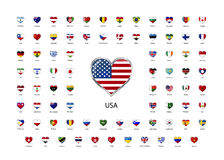 Set of heart shaped glossy icons of flags of world sovereign states Stock Photos
