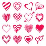 Set of heart shaped icons. Royalty Free Stock Photos