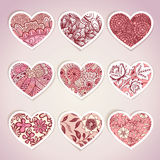 Set of heart shaped labels. For Valentines day, wedding, web and print material Stock Image