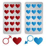 Love pills. Set of heart shaped love pills for women and men on white background. EPS file available stock illustration