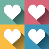 Set of heart shapes, retro flat design, Stock Images