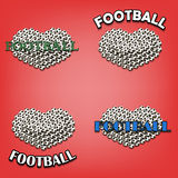 Set heart of soccer bal Royalty Free Stock Images