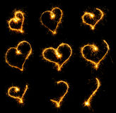 Set heart from sparks Stock Images