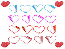 Set of heart stickers Royalty Free Stock Photo