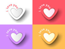 Set of heart stickers with the inscription. I love you Royalty Free Stock Image