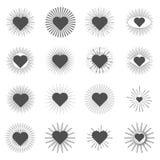 Set heart sunburst templates for labels Stock Photos
