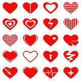 Set of heart symbols, signs for Valentine's Day and a wedding. On white background Royalty Free Stock Image