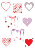 Set of 8 heart themed Valentine`s Day vectors Royalty Free Stock Images