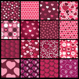 A Set of 16 Heart Vector Patterns for Valentines Day Royalty Free Stock Photos