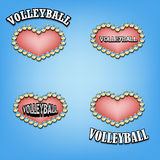 Set heart of volleyball Royalty Free Stock Photo