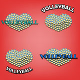 Set heart of volleyball Stock Photography