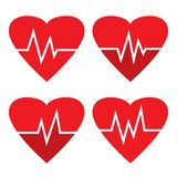 Set of heartbeat icons. Red heart different beat pulse. Vector illustration royalty free illustration