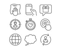 Heartbeat timer, Comic message and Hold smartphone icons. Globe, Headhunting and Click signs. Set of Heartbeat timer, Comic message and Hold smartphone icons Stock Photography