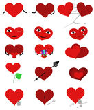 Set hearts. Various funny hearts. Object isolated Royalty Free Stock Images