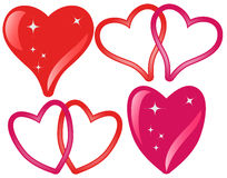 Set of Hearts. Set of red hearts for Valentine day on white background - vector illustration Royalty Free Stock Images