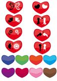 Set of hearts. With different silhouettes Stock Photos