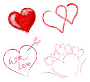 Set of hearts. Computer generated hearts on white background Stock Photos