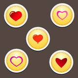 Set of Hearts. Vector set of Red Hearts Stock Images