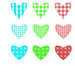 Set of hearts. In stitched textile style royalty free illustration