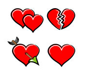 Hearts. Set of 4 of hearts Royalty Free Stock Photography