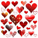Set of hearts. Set of different red hearts Stock Photography