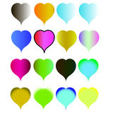 Set hearts of all colors of rainbow Royalty Free Stock Images
