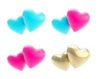 Set of hearts as heterosexual and gay relationships. Set of glossy heart icon emblems symbolizing heterosexual and gay types of relationships isolated on white Stock Photo