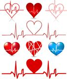 Set hearts beats graph. Vector Stock Photos