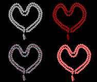 Set of Hearts on black Stock Image