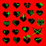 Set of hearts. Set of black hearts on a red background. Vector illustration Stock Images