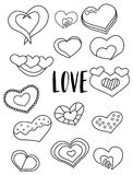 Set of hearts black and white stickers. Valentine`s day elements. Kids game coloring page. Vector illustration Royalty Free Stock Photos