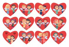 Set of Hearts with Boy Girl Couples Wings on Back. Set of hearts with boy and girl couples wings on back, man gives flowers to woman as gift, vector illustration Stock Photo