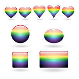 Set of hearts and buttons. A set of hearts and buttons with a rainbow design in the style of an LGBT community. Vector illustration Stock Images