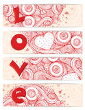 Set of hearts cards with doodles on ornate pattern Stock Images
