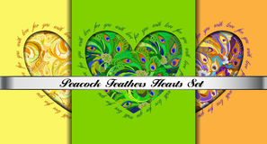 Set of hearts cards with peacock feathers ornament. Royalty Free Stock Photos