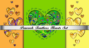 Set of hearts cards with peacock feathers ornament. Royalty Free Stock Photo