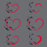 Set with Hearts and Climbing Rose. Set with Brush Stroke Red Hearts and Black Climbing Rose with Contour and Flat Elelments. Vector EPS 10 Stock Photography