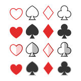 Set of hearts, clubs, spades and dimonds icons, ca. Rd suit for design Stock Photography
