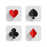 Set of hearts, clubs, spades and dimonds icons, ca Stock Images