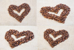 Set hearts of coffee beans Stock Photo